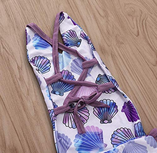 As Shown LOTUCY Baby Girls Summer Shell Print Swimsuit One Piece Backless Bikini Bathing Suit Size 3-4Years//Tag120