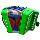 Paititi Kid's Accordion 7 Button 2 Bass Kid Music Instrument Easy to Play Musical Toy (Green)