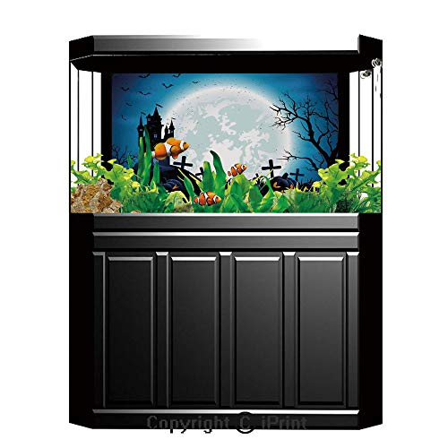 Terrarium Fish Tank Background,Halloween Decorations,Spooky Concept with Scary Icons Old Celtic Harvest Figures in Dark Image,Blue,Photography Backdrop for Pictures Party -