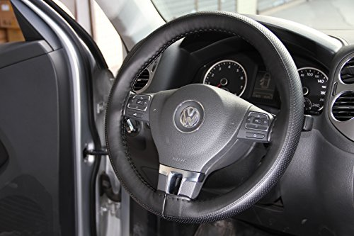 Circle Cool Black Stitching PVC Leather Steering Wheel Cover Wrap w/ Needle & Thread 14.25