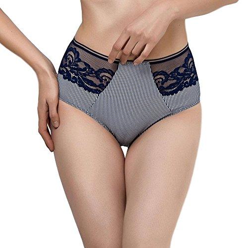 Lauma Lingerie High Waist Panty Sheer Side Briefs, Navy Blue, XL