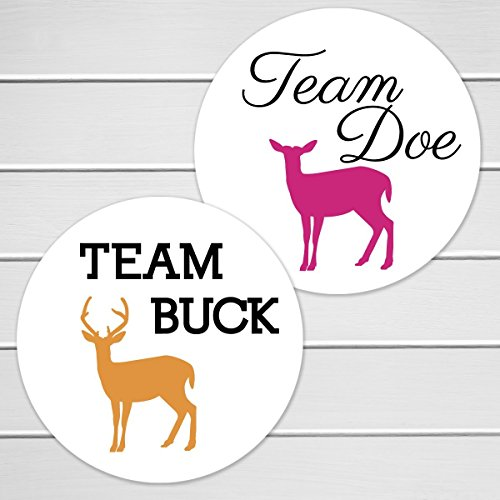 2 – 40 Deer Gender Reveal Stickers, Team Buck and Team Doe (361-2)