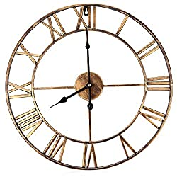 Bxhbaihuomattr Silent Round Wall Clock Roman Retro Decorative Wall Clock for Living Room Home Office Art Hanging Decoration 18.5 Inch 3D Large Iron Office Decor
