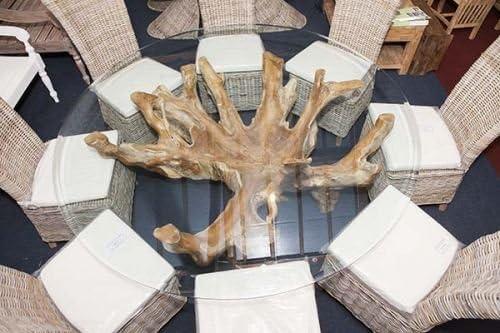 Haya asiento de madera de teca root 8 juego de utensilios para comer con cristal y ocho sillas de comedor de mimbre natural: Amazon.es: Hogar