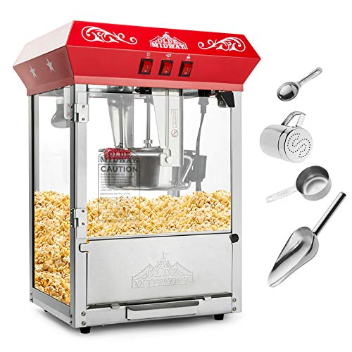 Olde Midway Bar Style Popcorn Machine Maker Popper with 10-Ounce Kettle - Red (The Best Popcorn Machine)