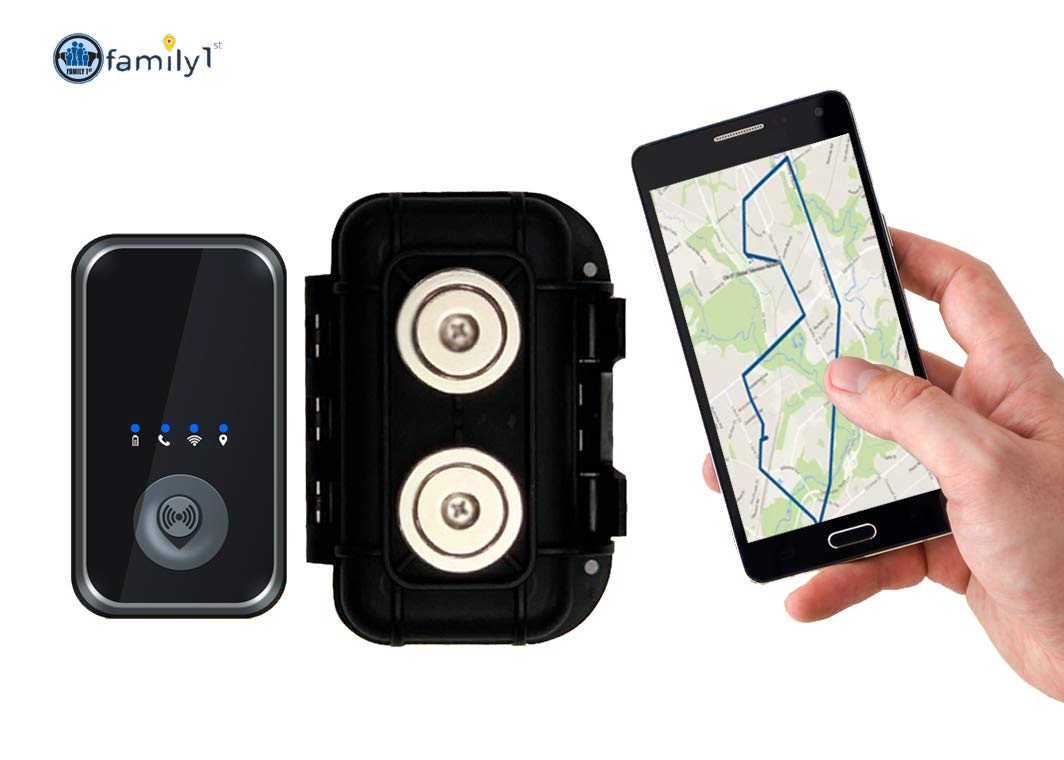 Family1st 4G LTE Portable GPS Tracker with Real-Time Live Locator - Comes with Waterproof & Weatherproof Magnetic Case - Compact & Hidden GPS Tracker for Kids, Teenagers, Seniors & Vehicles, Black by Family1st