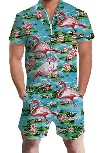 Men's Guy Gay Rompers Hawaiian One Piece Flamingos Pink Beach Short Sleeve Party Jumpsuit Outfits Custom Pant Overalls Large -