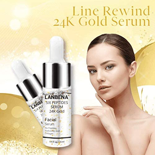Line Rewind 24K Gold Serum - 24K Gold Collagen Ampoule Lifting Serum for Tightens, Softens & Lifts Skin +Moisturizing + Firming Flexible + Anti Aging Anti Wrinkle, Face Skin Gold Essence Serum