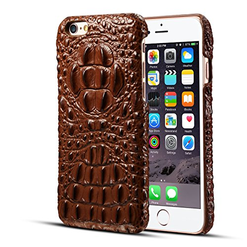 iPhone 7 / iPhone 8 Genuine Leather (Crocodile Texture)Case Cover,Flying Horse Real Leather Alligator Skin Texture[Ultra Slim Handmade]Back Cover for iphone 8/iphone - Alligator Skin Texture