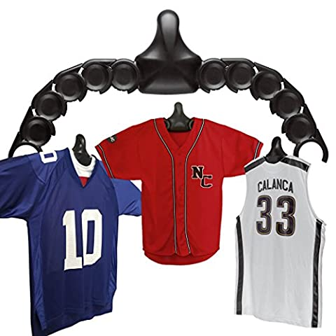 JerseyGenius   The Ultimate Display For All Jerseys   Shapes to Fit Any Sports Jersey (Single Pack)   Versatile Hanger and Wall - Deluxe Framed Jersey