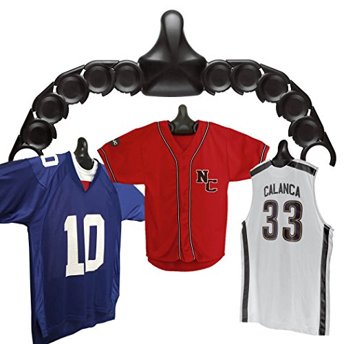 ChalkTalkSPORTS JerseyGenius | The Ultimate Display For All Jerseys | Shapes to Fit Any Sports Jersey (Single Pack) | Versatile Hanger and Wall Display