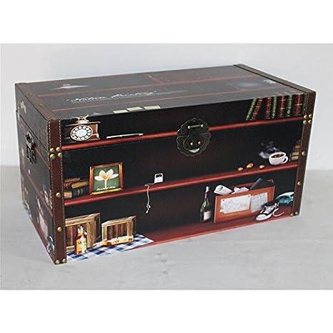 Cesteria Vicent Baul Decorado Caja de Madera Recubierto de Piel sintética (80 * 40 * 40 cm.): Amazon.es: Hogar