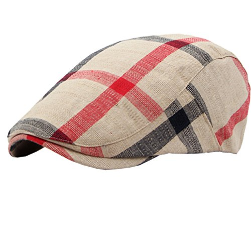 (Eohak Cotton Berets Caps - Classical Plaid Check Hat Vintage Casual Outdoor Newsboy Hat Painter Unisex Visor Forward Hat (Beige))