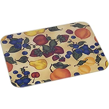 McGowan's TufTop Fruit Collage Tempered Glass Cutting Board. 12 by 9 inches.