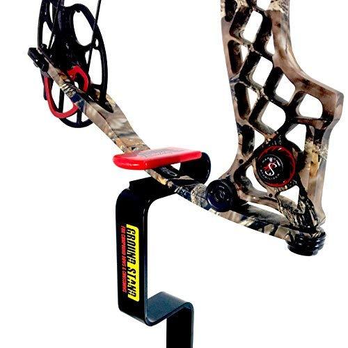 (My Ground Buddy - Ground Blind Bow Holder | Hunting Blind Bow Holder | Solid Steel Compound Bow Stand | Target Shooting (Black/Red, Original))