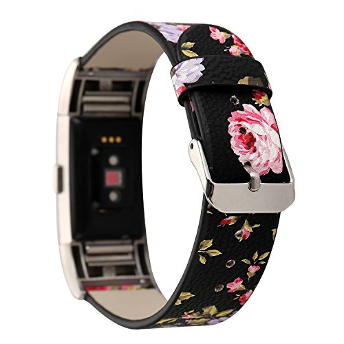 Leather Band for Fitbit Charge 2,New Flower Print Pattern Wrist Bands Strap Bracelet Replacement Watchband Accessories for Fitbit Charge 2 Smartwatch Fitness Tracker (Black+ Pink)