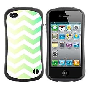Pulsar iFace Series Tpu silicona Carcasa Funda Case para Apple iPhone 4 / iPhone 4S , Vert Jaune Chevron Motif White Rasé