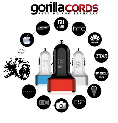 [GorillaCords] [White] 3 Port USB 26W 5.1A Car Charger/Adapter Compact Design for iPhone, iPad, Samsung Galaxy, Asus, Huawei, Android, Smartphones, Tablet Pc, GoPro, or PDA's.