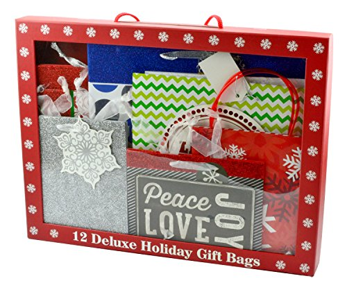 Deluxe 72 Piece Christmas Holiday Gift Bag Set,12 Assorted Bags with 60 Sheets of Tissue