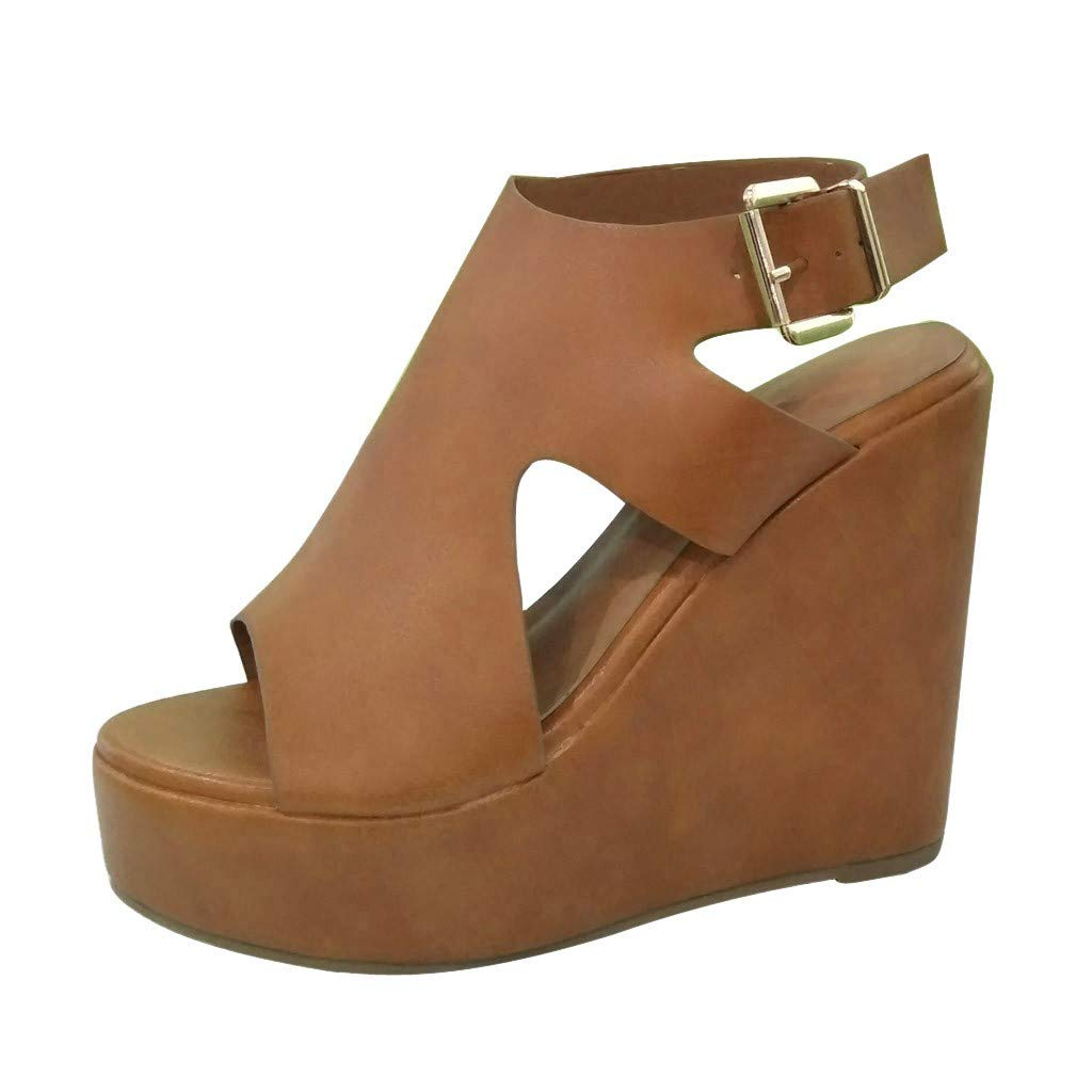 ZOMUSAR Sandals Slippers, Summer Women Platform Shoes Wedge Heels Sandals Fashion Concise Elegant Sandals Brown