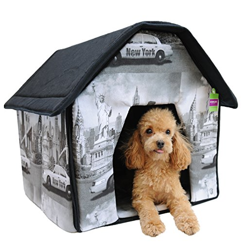 Soft Sponge Pet House Bed New York Theme Print for Dog Cat House 19.6H X18.8W X18.8L For Sale