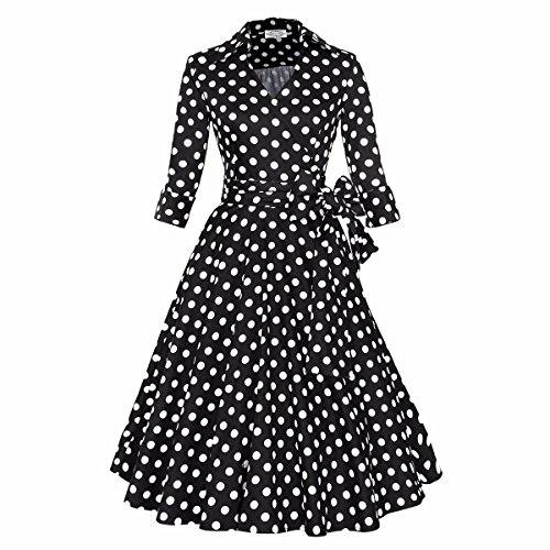 Samtree Womens 50s Style Half Sleeves Deep V Neck Vintage Swing Polka Dot Dress(M(US 6-8),Black Polka (Womens 50s Clothes)