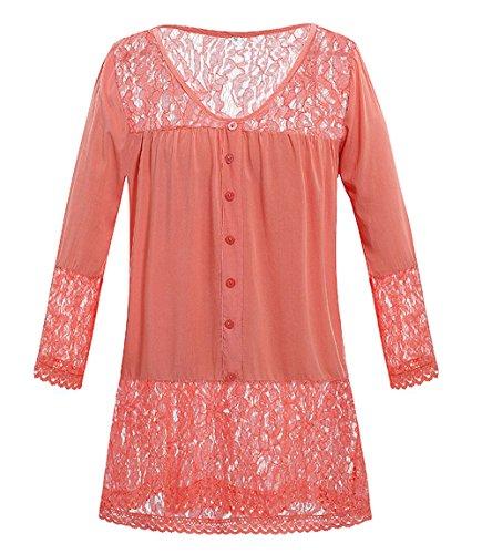 Simple-Fashion Primavera e Autunno Donne Tops Casual Tinta Unita Pizzo Cucitura T-Shirts Bluse Tumblr Tees Moda V Collo Maniche 3/4 Maglietta Quotidiani Camicie Arancia