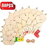 """Tonak Unfinished Wood Pieces Wooden Ornaments Christmas Crafts Supplies for Kids Predrilled Blank Hearts Tree Round Wood Slices to Paint DIY Christmas Hanging Decoration 40pcs 3"""""""