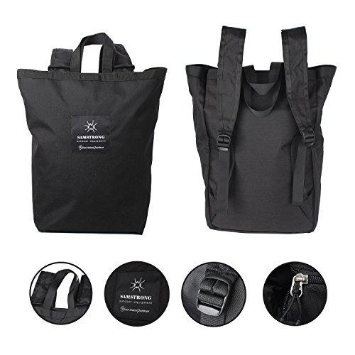 SAMSTRONG Totepack Backpack Convertible Shoulder Hand Bag Waterproof Day Bag for School, Travel, Hiking, Camping (Black)