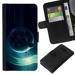KLONGSHOP // Tirón de la caja Cartera de cuero con ranuras para tarjetas - Planeta azul - Samsung Galaxy Core Prime //
