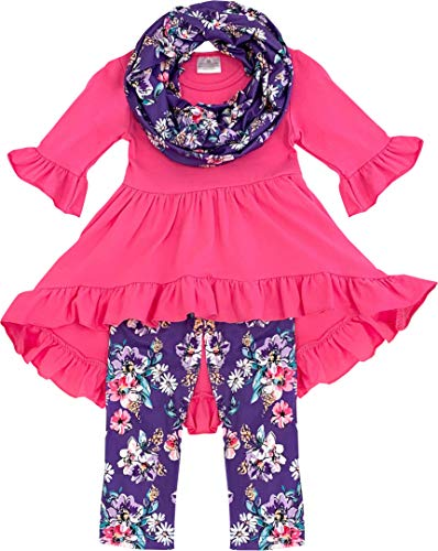 Boutique Clothing Girls Spring Easter Time Vintage Floral Outfit Set Daisy Hot Pink ()