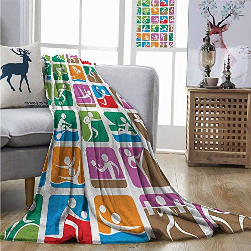 Sports Sailing Wrestling Fencing Weightlifting Of Mini Blanket Office Pictograms Green Summer Couch The Homrkey Boxing Xl60 Olympics W40 BCrdxeo