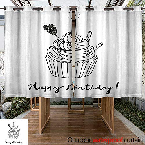 Cupcake Postcard - RenteriaDecor Outdoor Curtain for Patio Hand Drawn Vector Birthday Postcard with a Cupcake W96 x L72