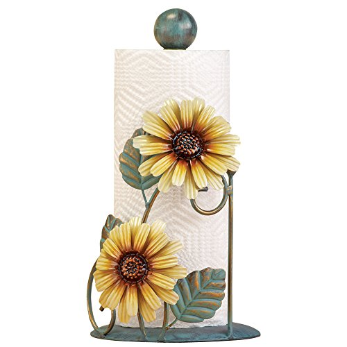 Metal Sunflower Paper Towel Holder, Yellow