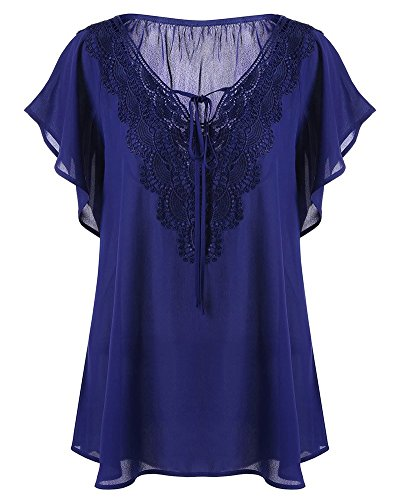 Senza Camicetta Yonglan Donna Elegante Zaffiro A Scollo shirt Maniche V T Blu Estiva Corte TF5xw5fqp