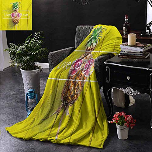 Xlcsomf Warm Blanket Live Laugh Love Tropical Pineapple Fruit with Sunglasses on Yellow Wood Board Joyful Print Daily use W60 x L80 Inch ()