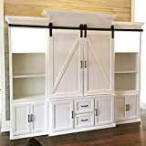 8FT Mini Cupboard Sliding Barn Door Track Hardware Kit For Cabinet Closet and TV Stand Double Small Door