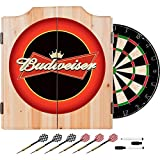 Officially Licensed Budweiser Design Deluxe Solid Wood Cabinet Complete Dart Set