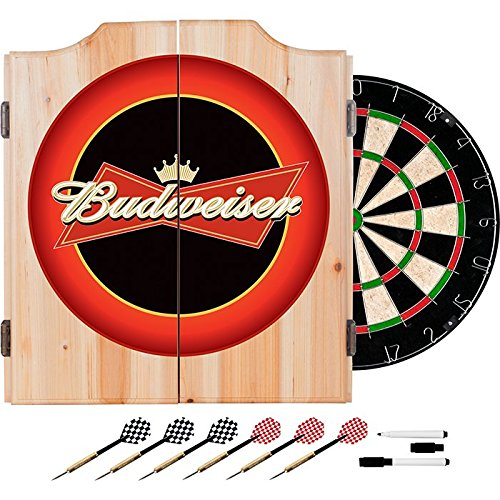 Officially Licensed Budweiser Design Deluxe Solid Wood Cabinet Complete Dart Set by TMG