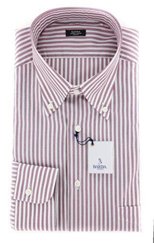 New Barba Napoli Burgundy Red Striped Extra Slim Shirt 17.5/44