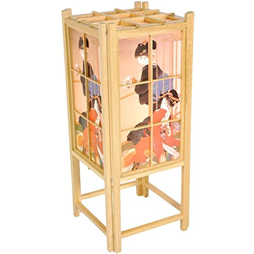 (Oriental Furniture Good Gift for Her Under $50 Dollars, 18-Inch Geisha Art Japanese Style Wood and Paper Shoji Lantern,)
