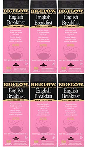Bigelow English Breakfast Tea 28-Count Boxes (Pack of 6) Full-Caffeine Premium Black Tea Bold Antioxidant-Rich Full-Caffeine Black Tea in Foil-Wrapped Bags