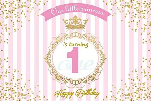 Leyiyi 5x3ft Little Princess 1st Birthday Backdrop Pink White Striped Banner Luxury Royal Crown Kids B Day Background Golden Glitter Spots Vintage Frame Cake Table Portrait Vinyl Prop Studio Wallpaper (Reflective Number Vinyl 3')
