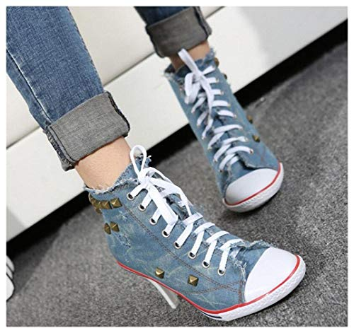 Tebapi Womens High-Heeled Pumps Shoes Women Canvas Shoes Denim High Heels Rivets Shoes Fashion Shoes High Heels Comfortable Ladies Luxury Royal Blue 10
