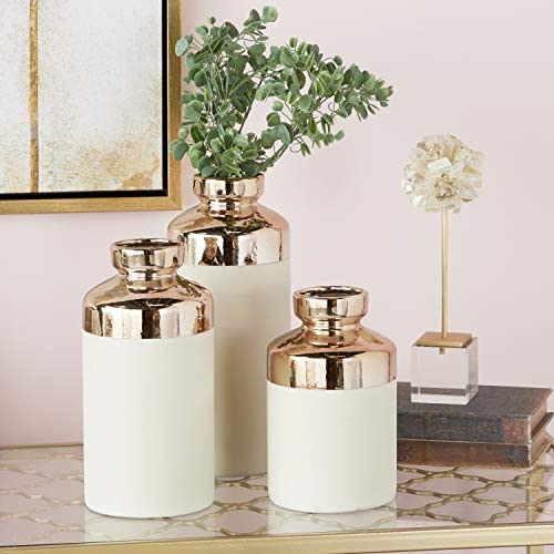 CosmoLiving by Cosmopolitan 98781 Tall Cylinder Metallic Copper White Decorative Vases Set of 3 5 x 12 , 5 x 10 , 5 x 8