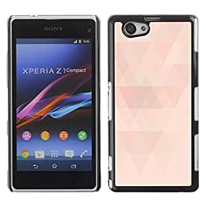 Be Good Phone Accessory // Dura Cáscara cubierta Protectora Caso Carcasa Funda de Protección para Sony Xperia Z1 Compact D5503 // Polygon Peach Pink Pattern Light Minimalist