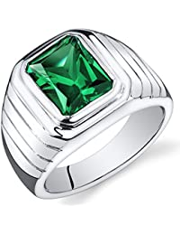 Mens 5.50 Carats Simulated Emerald Octagon Ring Sterling Silver Sizes 8 To 13