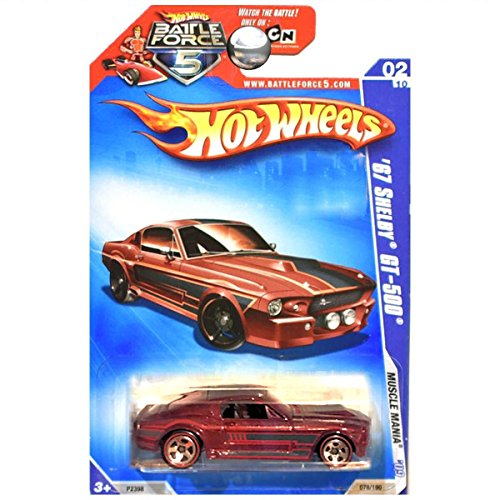 Hot Wheels 2009 Muscle Mania 1967 Shelby Ford Mustang GT-500 GT500 Maroon Red WALMART REDLINES (Redline Shelby)