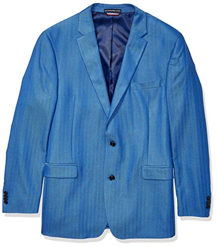 Tommy Hilfiger Men's Classic Blazer, Light Blue Herringbone, 42R