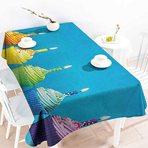 Willsd Resistant Table Cover,Birthday Cupcakes in Rainbow Colors with Candles Fun Homemade Party Food Sweet Delicious,Dinner Picnic Table Cloth Home Decoration,W60x120L Multicolor]()